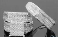 14k White Gold Fn Diamond Wedding Trio His & Hers Matching Band Bridal Ring Set
