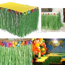 Table Skirt Green Grass Hibiscus Flower Wedding Beach Hawaiian Luau Tiki Party