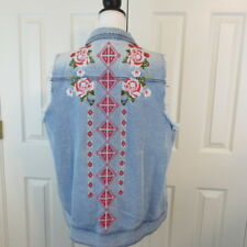 ANDREE by Unit Women's Denim Vest Sz 1X Blue Embroidered Pink White Flowers