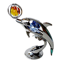 Crystocraft Playing Dolphin Crystal Ornament Swarovski Elements Gif Boxed
