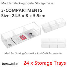24x Clear Acrylic Organizer Storage Container 24x8cm Makeup Compartment Tray Box