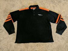 Harley Davidson Men's Polo Short Long Sleeve Embroidered Pin Stripe XL Black