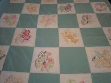 """Vintage 30s 40s Embroidered Butterfly Quilt Light Green Ivory Full Size 81 X 78"""""""