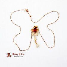 Art Deco Lavaliere Pendant Necklace 10 K Gold Seed Pearl Garnet
