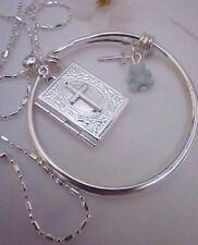 "Bible Locket//BlueTed,Boy/silver 16""chain+free Angel Charm/in Silver Box."