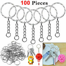 100Pcs Silver Keyring Blanks Tone Key Chains Key Split Rings With 4 Link Chain