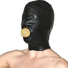LATEXMASKE mit Mund* schwarz-haut* 58 cm Umfang rubber Gummi Hood