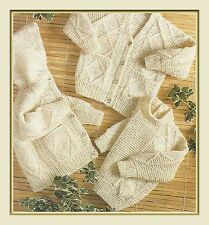 "Aran Jacket, Cardigan and Sweater Knitting Pattern Baby Boys Girls 20-26"" 983"