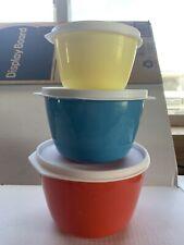 Vintage Set of 3 Rubbermaid Plastic Nesting Bowls Lids Travel Trailer