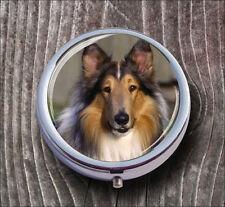 DOG BLUE COLLIE BREED PILL BOX ROUND METAL -jfv5Z