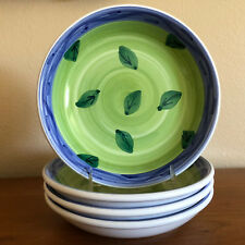 4 Caleca Sorrento Soup/Pasta Bowls Blue Trim Green Leaves New Made in Italy