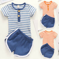 ❤️2PCS Newborn Baby Girls Boys Stripe Summer Short Sleeve Tops Shorts Outfit Set