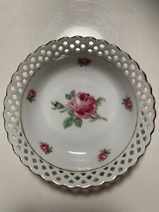 "Schumann Arzberg Germany Bavaria Reticulated Bowl Wild Rose Pierced Design 5"" F"
