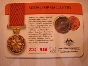 2017 Medal for Gallantry - 100 years of Anzac, 20c carded coin.