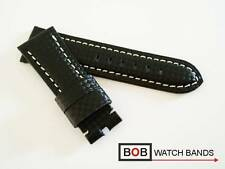 Bob carbon echtlederuhrband Black con costura blanca para breitdornschliesse 26 mm