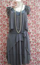 SIZE 10 20'S DECO FLAPPER CHARLESTON VINTAGE STYLE DRESS BEADED GREY# US 6 EU 38