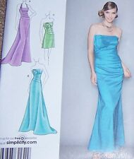 strapless prom dress Pattern WEDDING GOWN  4-12 halter retro style folded wrap