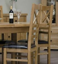 Claridge solid oak furniture set of eight cross back dining chairs