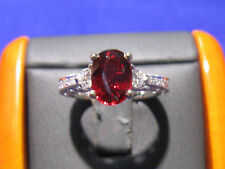 Solitare Ruby ring w/ Diamond Accents