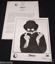 TONIO K 'LIFE IN THE FOODCHAIN' 1979 PRESS KIT--PHOTO