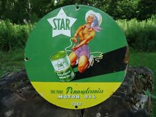 Old Vintage 1947 Star Penn Motor Oil Porcelain Metal Gas Oil Sign! Pure Penn