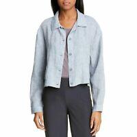 NWT Eileen Fisher Crop Organic Linen Chambray Classic Jacket Women's X-Large XL