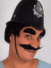 Black Long Moustache and Eyebrow set, Fancy Dress. Realistic material. Police