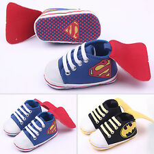 Newborn Baby Kids Girl Boy Batman Prewalker Non-slip Pram Shoes Trainers Sneaker