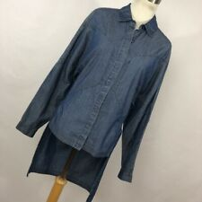 Robert Rodriguez 0 Shirt Top Blue Denim Chambray High Low Button Down Front W2P