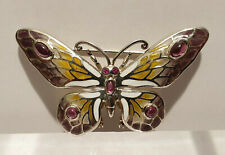 Vintage 925 Sterling Silver Plique A Jour Enamel and Amethyst Butterfly Brooch