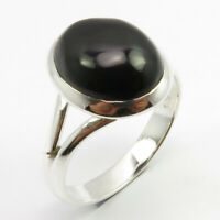 925 Sterling Silver Oval Cabochon Black Onyx Ring Size 7.75 Low Price