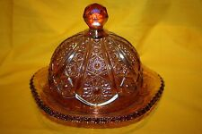 VINTAGE INDIANA RED AMBERINA CARNIVAL GLASS  BUTTER DISH & LID