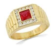 Men's 1.5 tcw Ruby & Diamond Simulated 14k Gold Watch Band Ring