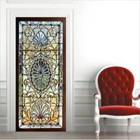 3D Self-Adhesive Stained Glass Door Sticker Decals Murals Wallpaper Home Decor