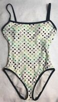 Anne Cole Collection 8 Swimsuit White Black Green Polka Dot Lined Modest Womens