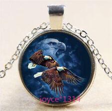 Vintage Bald eagle Cabochon Tibetan silver Glass Chain Pendant Necklace #6295
