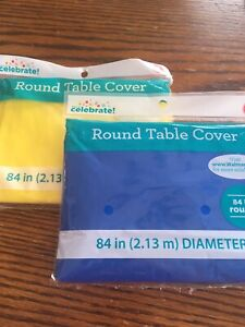 Round Desposable Tablecloths (2) 1 Yellow And 1 Blue. 84 Inches