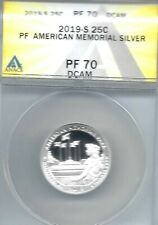 2019-S Proof Silver American Memorial ANACS Authenticated PF 70