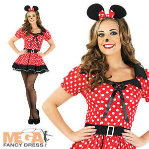 Miss Mouse Ladies Costume + Ears Cartoon Character Womens Fancy Dress Outfit New