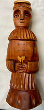 Salazar Signed Carved Wood New Mexico Folk Art Bulto Santo Saint Monk Sculpture