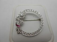 Gorgeous Art Deco Antique Platinum 2ct VVS Diamond & Ruby Flower Brooch Pin WOW