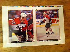 1992  uncut Card sheet Philadelphia Flyers DIMITRI YUSHKEVICH Claude Boivin NHL