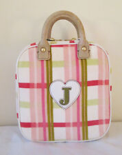 Juicy Couture Large Daisy Pink Plaid Cotton Leather Cosmetic Makeup Travel Case