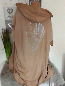 Italy  Damen Long Cardigan Hoodie Jacke 48 50/52  NEU Skull Totenkopf camel