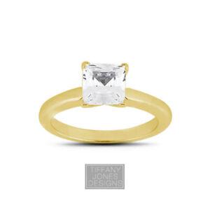 2.18ct E-VS1 Princess Natural Diamond 14k  Classic Solitaire Engagement Ring