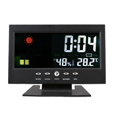 LED Digital Projection Alarm Clock Loud Snooze Calendar Weather Color Display