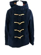 FAT FACE Womens Jacket Coat 8 Navy Blue Wool & Nylon Hooded Duffle