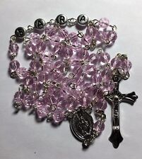 Personalized Name Rosary Beads - Pink Glass Faceted Beads