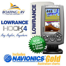 Lowrance HOOK 4 Fish finder / GPS Chartplotter Navionics PLUS + Cover + Trans