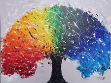 "Original Acrylic painting on canvas Abstract Art Wall Decor ""Rainbow Tree"""